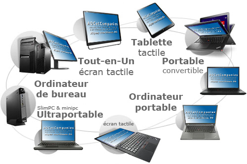 Ordinateur de bureau, pc Portable et Tablette tactile